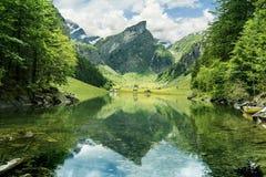 Ήρεμη σκηνή της λίμνης seealpsee που απεικονίζει το βουνό των Άλπεων Στοκ εικόνες με δικαίωμα ελεύθερης χρήσης