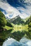 Ήρεμη σκηνή της λίμνης seealpsee που απεικονίζει το βουνό των Άλπεων Στοκ Φωτογραφίες