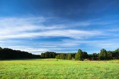 Ήρεμη φωτογραφία τοπίων του λιβαδιού στην ανατολή Στοκ φωτογραφίες με δικαίωμα ελεύθερης χρήσης