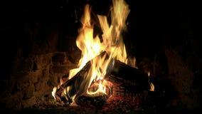 Ήρεμος καταπληκτικός ικανοποιώντας καλός άνετος στενός επάνω 4k βρόχος που πυροβολείται του ξύλινου καψίματος φλογών πυρκαγιάς αρ φιλμ μικρού μήκους