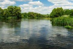 Ήρεμος ποταμός με τα πράσινα δέντρα στις τράπεζες και μπλε ουρανός με το μόριο στοκ εικόνες