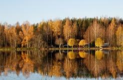 Ήρεμος ποταμός που ρέει στο τοπίο φθινοπώρου στοκ εικόνα