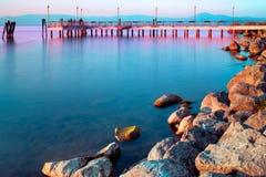ήρεμο ηλιοβασίλεμα λιμνών Στοκ Εικόνες
