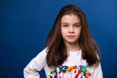 Ήρεμο μικρό κορίτσι brunette Στοκ Φωτογραφίες