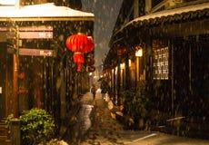 Ήρεμο πόλης χωριό νερού της Κίνας αρχαίο στο σκοτάδι χιονιού, zhouzhuang, suzhou στοκ φωτογραφίες με δικαίωμα ελεύθερης χρήσης