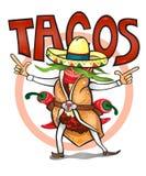 Ήρθε να φάει τα χρονικά νόστιμα tacos Στοκ εικόνα με δικαίωμα ελεύθερης χρήσης