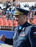 Ήρωας της Ρωσικής Ομοσπονδίας, ο διοικητής των απόμακρων αεροσκαφών ο γενικός-υπολοχαγός Sergey Kobylash Στοκ Εικόνες