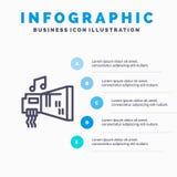 Ήχος, αμμοστρωτική μηχανή, συσκευή, υλικό, εικονίδιο γραμμών μουσικής με το υπόβαθρο infographics παρουσίασης 5 βημάτων απεικόνιση αποθεμάτων