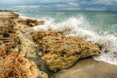 Ήχος Hobe παραλιών βράχων φυσήγματος, Φλώριδα Στοκ Φωτογραφίες