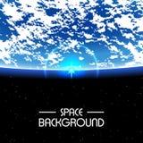 Ήλιος αύξησης πέρα από το πλανήτη Γη Διαστημικό υπόβαθρο Στοκ εικόνες με δικαίωμα ελεύθερης χρήσης