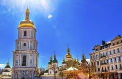 Ήλιος Κίεβο Ουκρανία πύργων κώνων καθεδρικών ναών Αγίου Sophia Στοκ Εικόνα