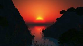 Ήλιος και δέντρα αύξησης στον ωκεανό διανυσματική απεικόνιση