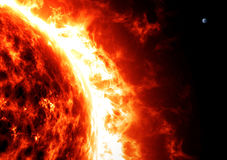 Ήλιος και γη, αναλογίες και μεγέθη διάστημα Στοκ φωτογραφίες με δικαίωμα ελεύθερης χρήσης