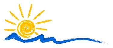Ήλιος και θάλασσα λογότυπων διανυσματική απεικόνιση