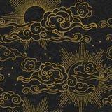 Ήλιος και φεγγάρι στο νεφελώδη ουρανό Χρυσές σκιαγραφίες στο μαύρο υπόβαθρο Διανυσματική απεικόνιση