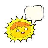 ήλιος κινούμενων σχεδίων με τη λεκτική φυσαλίδα Στοκ Φωτογραφίες