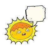 ήλιος κινούμενων σχεδίων με τη λεκτική φυσαλίδα Στοκ εικόνες με δικαίωμα ελεύθερης χρήσης