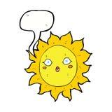 ήλιος κινούμενων σχεδίων με τη λεκτική φυσαλίδα Στοκ Εικόνα