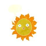 ήλιος κινούμενων σχεδίων με τη λεκτική φυσαλίδα Στοκ Φωτογραφία