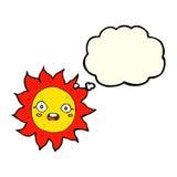 ήλιος κινούμενων σχεδίων με τη σκεπτόμενη φυσαλίδα Στοκ εικόνα με δικαίωμα ελεύθερης χρήσης