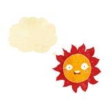 ήλιος κινούμενων σχεδίων με τη σκεπτόμενη φυσαλίδα Στοκ Φωτογραφία