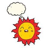 ήλιος κινούμενων σχεδίων με τη σκεπτόμενη φυσαλίδα Στοκ φωτογραφία με δικαίωμα ελεύθερης χρήσης