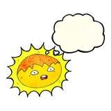 ήλιος κινούμενων σχεδίων με τη σκεπτόμενη φυσαλίδα Στοκ Φωτογραφίες