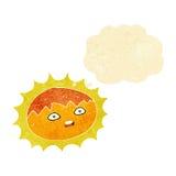 ήλιος κινούμενων σχεδίων με τη σκεπτόμενη φυσαλίδα Στοκ Εικόνες