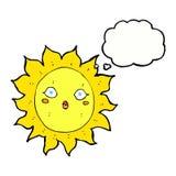 ήλιος κινούμενων σχεδίων με τη σκεπτόμενη φυσαλίδα Στοκ εικόνες με δικαίωμα ελεύθερης χρήσης