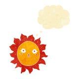 ήλιος κινούμενων σχεδίων με τη σκεπτόμενη φυσαλίδα Στοκ φωτογραφίες με δικαίωμα ελεύθερης χρήσης