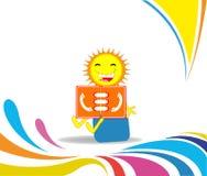 Ήλιος κινούμενων σχεδίων που διαβάζει έναν τηλεφωνικό κατάλογο στοκ εικόνες με δικαίωμα ελεύθερης χρήσης