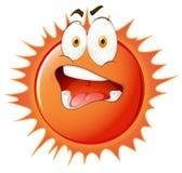 Ήλιος με την ανήσυχη έκφραση του προσώπου απεικόνιση αποθεμάτων