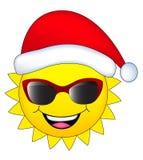 Ήλιος με το καπέλο santa Στοκ φωτογραφία με δικαίωμα ελεύθερης χρήσης