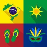 _ ήλιος παντόφλες Μάσκα νεολαίες ενηλίκων Σύνολο κινούμενων σχεδίων εικονιδίων Στοκ Εικόνα