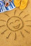 Ήλιος παραλιών προσώπου Smiley Στοκ φωτογραφία με δικαίωμα ελεύθερης χρήσης