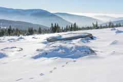 Ήλιος που λάμπει πέρα από τα χιονισμένα γιγαντιαία βουνά Στοκ Εικόνα