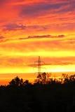 Ήλιος που θέτει σε μια νύχτα της Οκλαχόμα Στοκ Φωτογραφία
