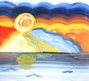 Ήλιος σε ένα υπόβαθρο των ζωηρόχρωμων σύννεφων Στοκ φωτογραφία με δικαίωμα ελεύθερης χρήσης