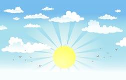 Ήλιος στο νεφελώδη ουρανό Στοκ Εικόνα