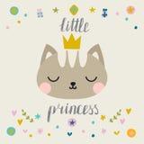 λίγη πριγκήπισσα Χαριτωμένος λίγη γάτα με την κορώνα Μόδα pussycat Παιδαριώδης κάρτα Στοκ Εικόνες