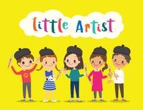 λίγος καλλιτέχνης, παιδιά παιδιών με τη ζωγραφική των κινούμενων σχεδίων εργαλείων διανυσματική απεικόνιση
