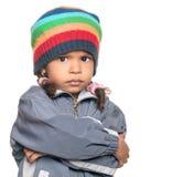 0 λίγο πολυφυλετικό κορίτσι που απομονώνεται στο λευκό Στοκ Εικόνες