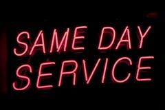 ίδιο σημάδι υπηρεσιών ημέρα&s Στοκ φωτογραφία με δικαίωμα ελεύθερης χρήσης