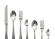 Δίκρανο, μαχαίρι και κουτάλι σε ένα λευκό Στοκ εικόνες με δικαίωμα ελεύθερης χρήσης