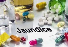 Ίκτερος, φάρμακα ως έννοια της συνηθισμένης επεξεργασίας, εννοιολογική εικόνα στοκ φωτογραφία με δικαίωμα ελεύθερης χρήσης
