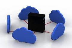 Δίκτυο κεντρικών υπολογιστών υπολογιστών με το σύννεφο Στοκ Εικόνες