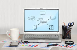 Δίκτυο υπολογιστών σχεδίου Στοκ φωτογραφία με δικαίωμα ελεύθερης χρήσης