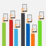 Δίνει αυξημένος κρατώντας το smartphone επίπεδο σχέδιο Στοκ Φωτογραφίες
