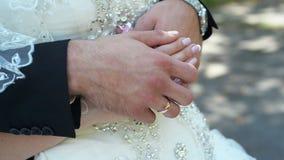 δίνει newlyweds τα δαχτυλίδια απόθεμα βίντεο