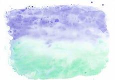 Ίριδα λουλακιού και μικτό υπόβαθρο κλίσης watercolor μεντών νεφρίτης οριζόντιο Αυτό ` s χρήσιμο για τις ευχετήριες κάρτες στοκ εικόνα με δικαίωμα ελεύθερης χρήσης